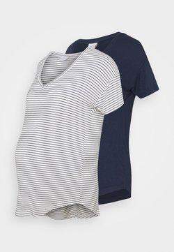 MAMALICIOUS - MLALISON MIX 2 PACK - T-shirt imprimé - navy blazer/snow white