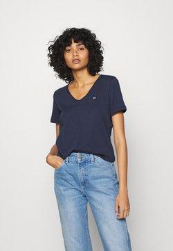 Tommy Jeans - SLIM VNECK - T-shirt basic - blue