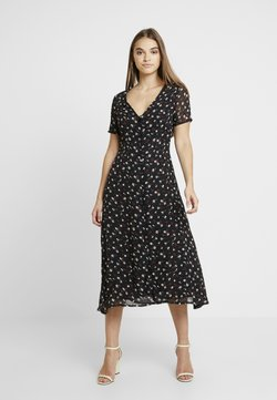 Missguided - FLORAL BUTTON FRONT MAXI DRESS - Maxi dress - black