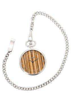 LAIMER - LAIMER QUARZ HOLZUHR - ANALOGE TASCHENUHR ZEBRANOHOLZ - Uhr - silver