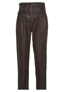 Steffen Schraut - MANHATTAN LUXURY  PANTS - Leather trousers - coffee