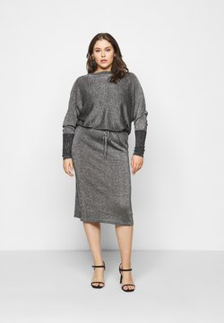 CAPSULE by Simply Be - METALLIC DRESS - Freizeitkleid - black/silver-coloured
