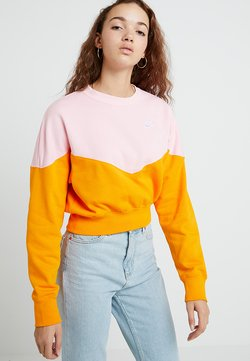 Nike Sportswear - W NSW HRTG CREW FLC - Sweatshirt - orange peel/med soft pink/white