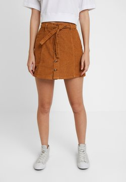 American Eagle - ALINE SKIRT WITH EXPOSED BUTTON - Minirock - chestnut