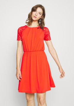 Vila - VITAINI DRESS - Jerseykjoler - flame scarlet