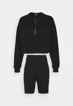 Missguided Tall - COORD HALF ZIP CYCLING SET - Sweatshirt - black
