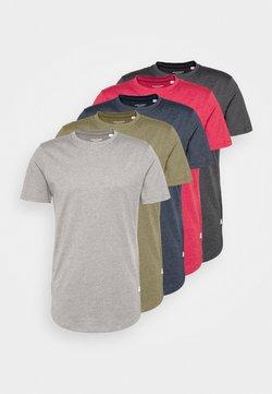 Jack & Jones - ENOA TEE CREW NECK MELANGE 5 PACK - T-shirt basic - olive night/olive/navy/rio