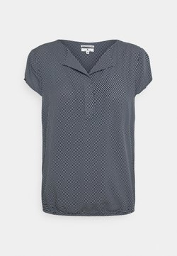 TOM TAILOR - WITH FEMININE NECKLINE - Bluse - navy/white