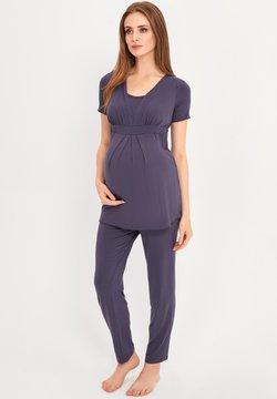 Cool Mama - BAMBOO MATERNITY & NURSING PYJAMA 2 IN 1 BASIC - Pyjama - blue