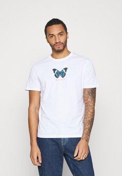 YOURTURN - UNISEX BUTTERFLY TEE - T-shirt z nadrukiem - white