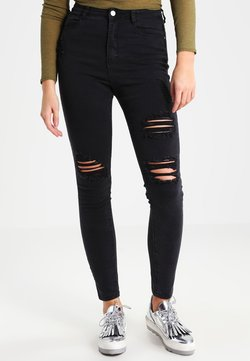 Missguided - SINNER HIGHWAISTED AUTHENTIC RIPPED - Jeans Skinny Fit - black