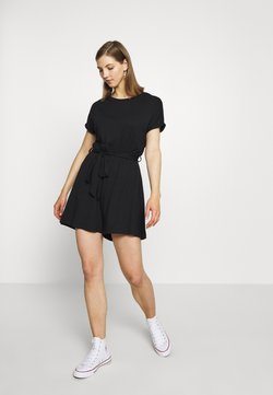 Even&Odd - BASIC - SHORT SLEEVES BOAT PLAYSUIT - Combinaison - black