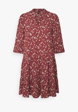 Vero Moda - VMZIGGA V-NECK SHORT DRESS  - Freizeitkleid - burnt russet