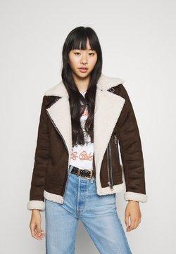 ONLY - ONLDIANA BONDED AVIATOR JACKET - Faux leather jacket - black coffee/white
