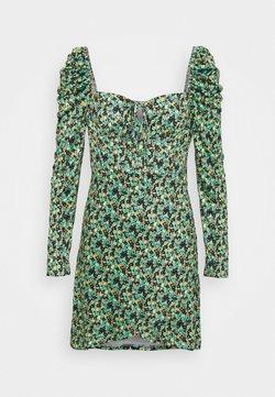 Glamorous - WRAP MINI DRESS WITH LONG SLEEVES AND SQUARE NECKLINE  - Freizeitkleid - green
