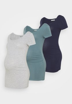 Anna Field MAMA - 3 PACK - T-Shirt basic - light grey/blue/dark blue