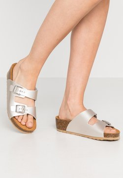 Bianco - BIABETTY WEDGE BUCKLE - Chaussons - silver