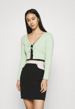 Glamorous - CARDIGAN WITH SKINNY FIT SLEEVES AND HIGH ROUND NECKLIN - Gilet - mint