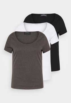 Even&Odd Curvy - 3 PACK - T-Shirt basic - mottled dark grey/white/black/