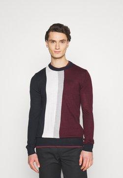 Burton Menswear London - BURG WIDE VERTICAL STRIPE CREW - Strickpullover - burgundy