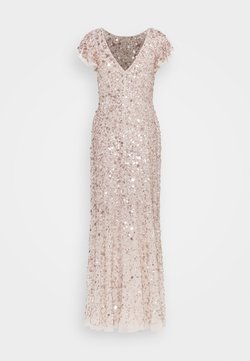 Maya Deluxe - FLUTTER SLEEVE ALL OVER SEQUIN MAXI DRESS - Robe de cocktail - rose gold