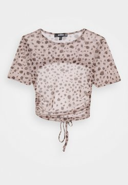 Missguided - CUT OUT BACK CROP - T-Shirt print - brown