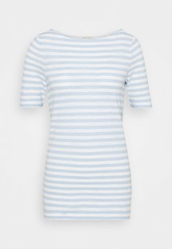Marc O'Polo - SHORT-SLEEVE BOAT-NECK STRIPED - T-Shirt print - light blue