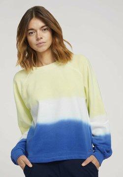TOM TAILOR DENIM - CROPPED RAGLAN - Sweatshirt - yellow blue dip dye