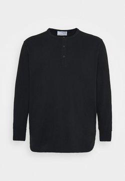 Selected Homme - SLHBAKER SPLIT NECK TEE - Pitkähihainen paita - black