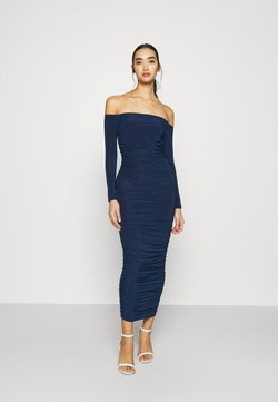 Missguided - BARDOT SLINKY RUCHED MIDAXI DRESS - Jerseykleid - navy