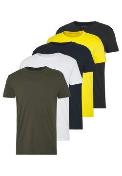 Pier One - 5 PACK - T-shirt basic - olive/navy/white/yellow/grey