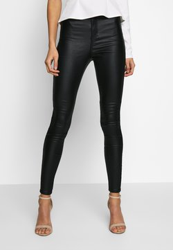 Missguided - VICE HIGH WAISTED COATED - Stoffhose - black
