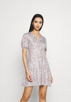 Missguided - DITSY RUCHED PUFF SLEEVE SKATER DRESS - Jerseykleid - blue