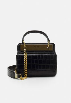 DKNY - COOPER FLAP XBODY CROCO - Handtasche - black/gold-coloured