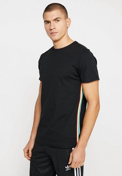 Urban Classics - SIDE TAPED TEE - T-Shirt print - black/multicolor