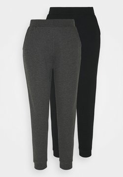 Even&Odd - 2er PACK - Basic regular fit joggers - Jogginghose - black/mottled dark grey