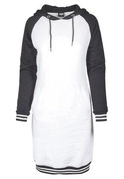 Urban Classics - LADIES CONTRAST COLLEGE HOODED DRESS - Freizeitkleid - white/black