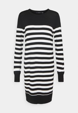 Vero Moda - VMLACOLE STRIPE BALLOON DRESS  - Vestido de punto - black/snow white