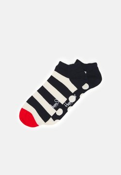 Happy Socks - BIG DOT STRIPE LOW SOCK 2 PACK - Socken - dark blue/white