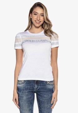 Cipo & Baxx - MIT LOGO PAILLETTEN  - T-Shirt print - weiss