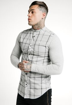 SIKSILK - CHECK GRANDAD  - Hemd - grey