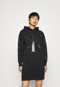 Calvin Klein Jeans - ECO LOGO HOODIE DRESS - Freizeitkleid - black