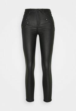 Vila - VICOMMIT COATED ZIP PANTS - Jeans Skinny Fit - black