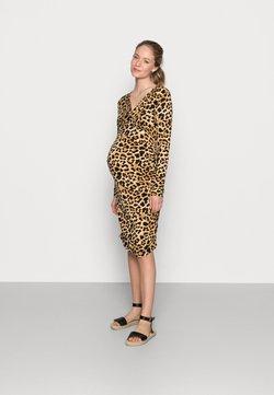 MAMALICIOUS - NURSING DRESS - Jerseykleid - black/brown
