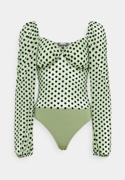 Missguided Tall - SPOT LONG SLEEVE BODYSUIT - Bluse - mint