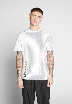 Mennace - UNISEX VERTICAL STRIPE SIDE PRINT - Print T-shirt - white