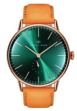 August Berg - UHR SERENITY GREENHILL EYE LEATHER 40MM - Montre - sunray green