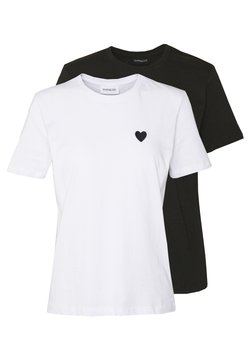 Even&Odd - 2PACK - T-Shirt basic - white/black