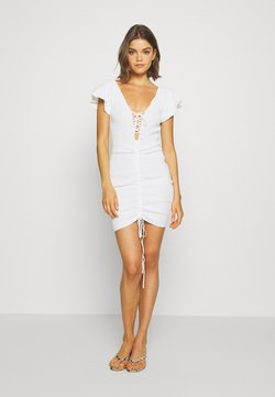 Missguided - RUCHE FRONT MIDI DRESS - Etuikleid - white