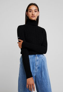 Superdry - CROYDE CABLE ROLL NECK - Sweter - black